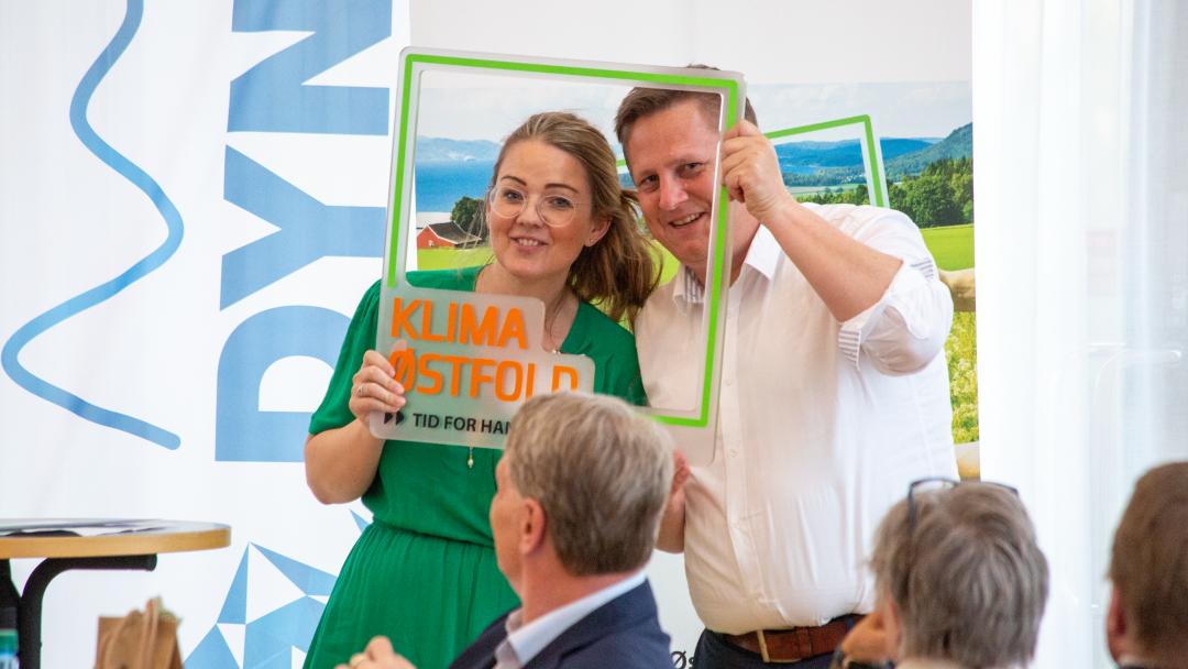 STORE AMBISJONER: René Rafshold, leder av Klima Østfold, sammen med Cecilie Agnalt, medlem av arbeidsutvalget.